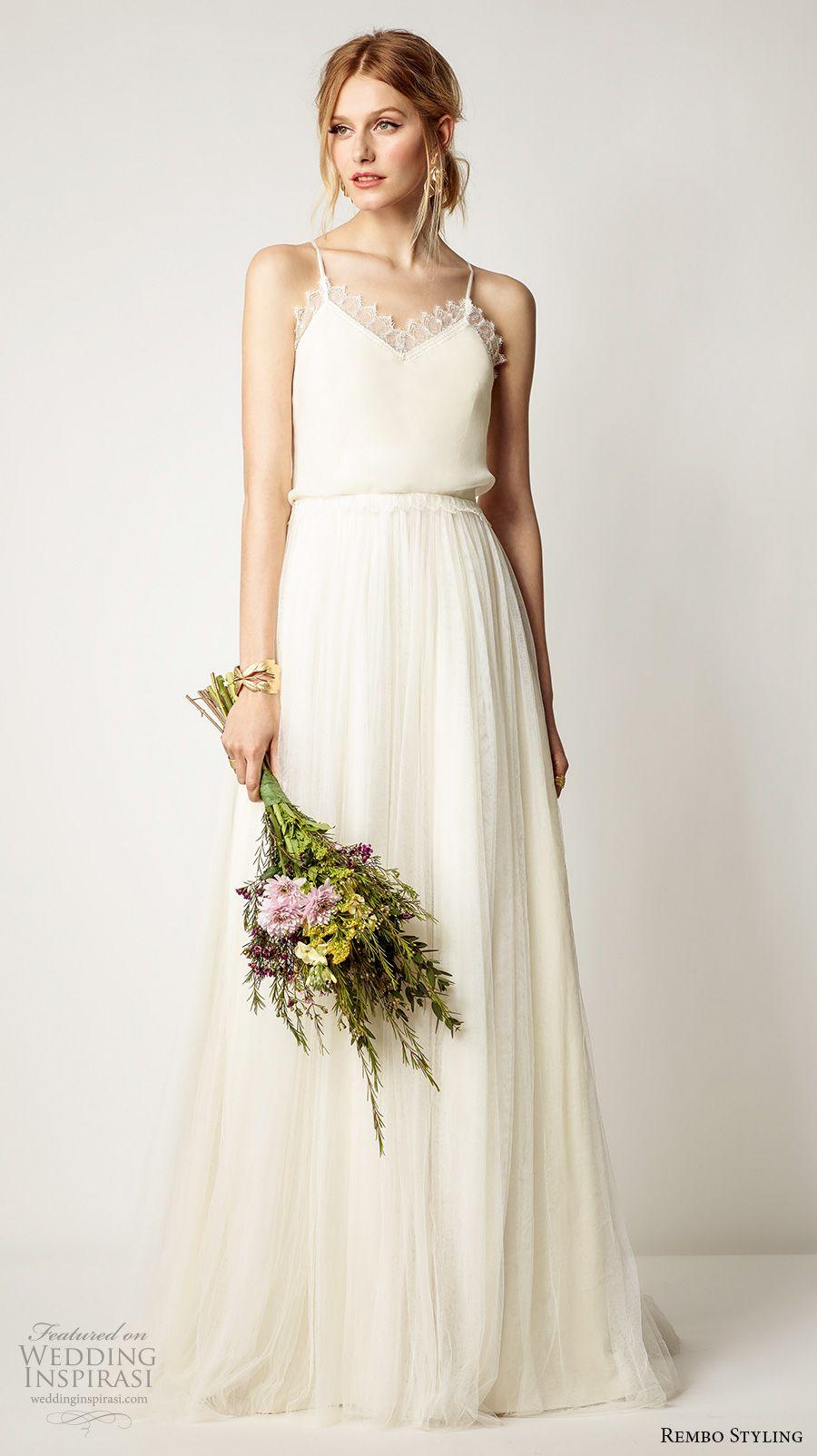 rembo styling 2017 bridal spagetti strap sweetheart neck blouson simple ivory color a  line wedding dress cross strap sweep train (luna) mv