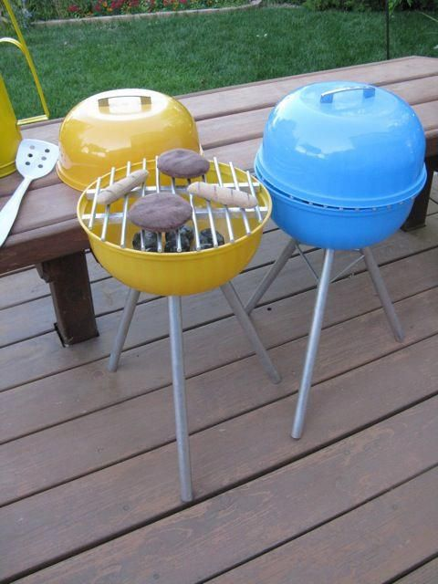 How To Make a Toy Grill for $20 - Diy kids toys, Kids pretend play, Diy for kids, Diy toys, Kids kitchen, Kids playing - After being blown away by so many stunning DIY play kitchens, we've decided to take the cooking outdoors for summertime  This toy grill can be knocked out in a day for a grand total of under $20 (even less if you already have a plastic mixing bowl on hand)  It's easy! You only need to know how to cut a dowel with a handsaw and drill a hole  And if you've never tried before, now is the perfect time!