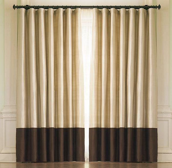RH's Thai Silk Coffee Banded Rod-Pocket Drapes:Masterfully hand-loomed from  the world's finest Thai silk.