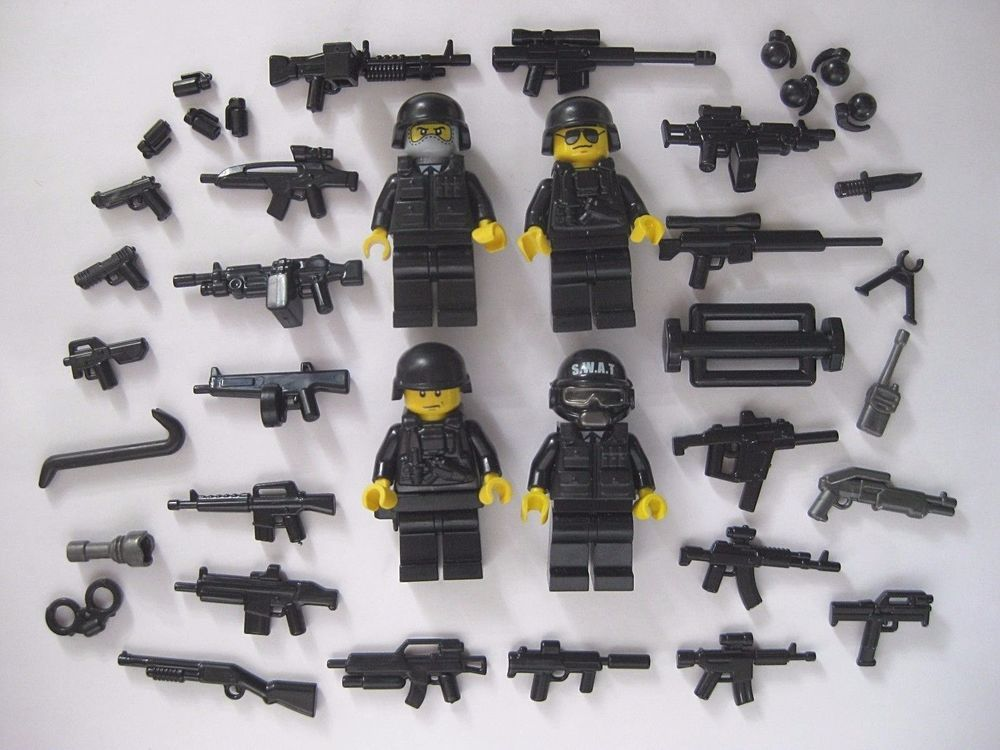 Lego Custom SWAT TEAM 4 Minifigures PLUS BrickArms Weapons Pack ...