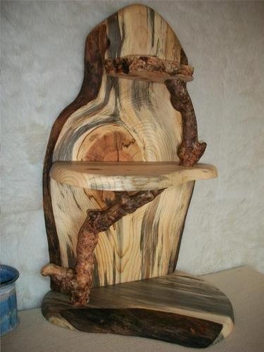 Rustic Burl Wood Bedroom Furniture: Rustic Blue Pine & Burl Shelf, Curio, Stand; 3 Shelves
