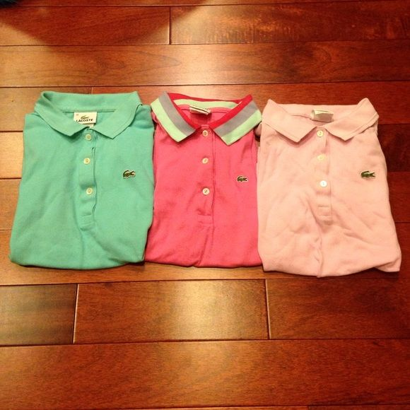 BUNDLE three Lacoste shirts Beautiful short sleeve Lacoste polo shirts. Price reflects imperfection on light pink shirt, otherwise amazing condition. Ask about buying separately Lacoste Tops