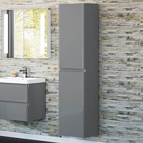 1700mm Tall Gloss Grey Wall Hung Bathroom Furniture Soft Close