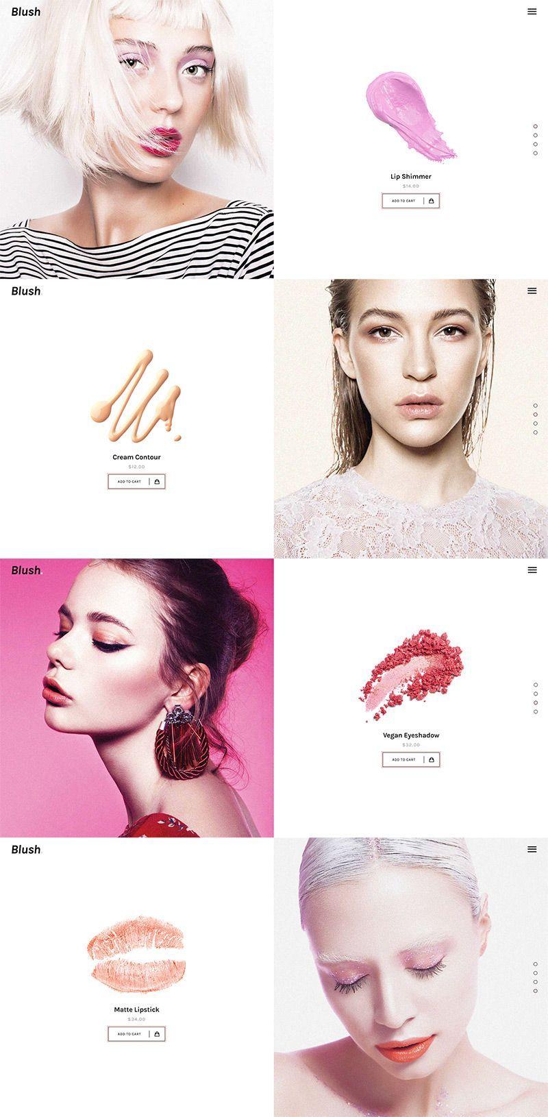 Landing cosmetic web beauty website cosmetics website