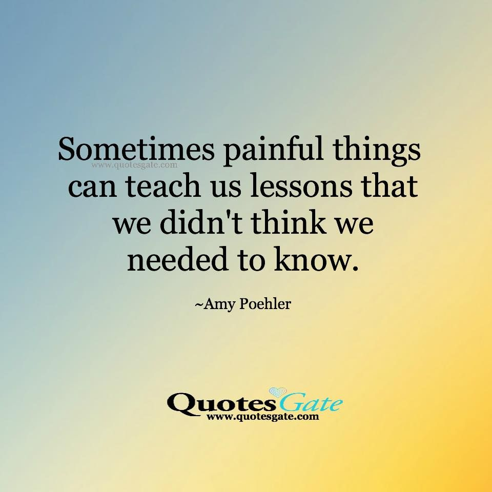 Quotes Gate Sometimes Painful Things Can Teach Us Lessons That We Didn't Think