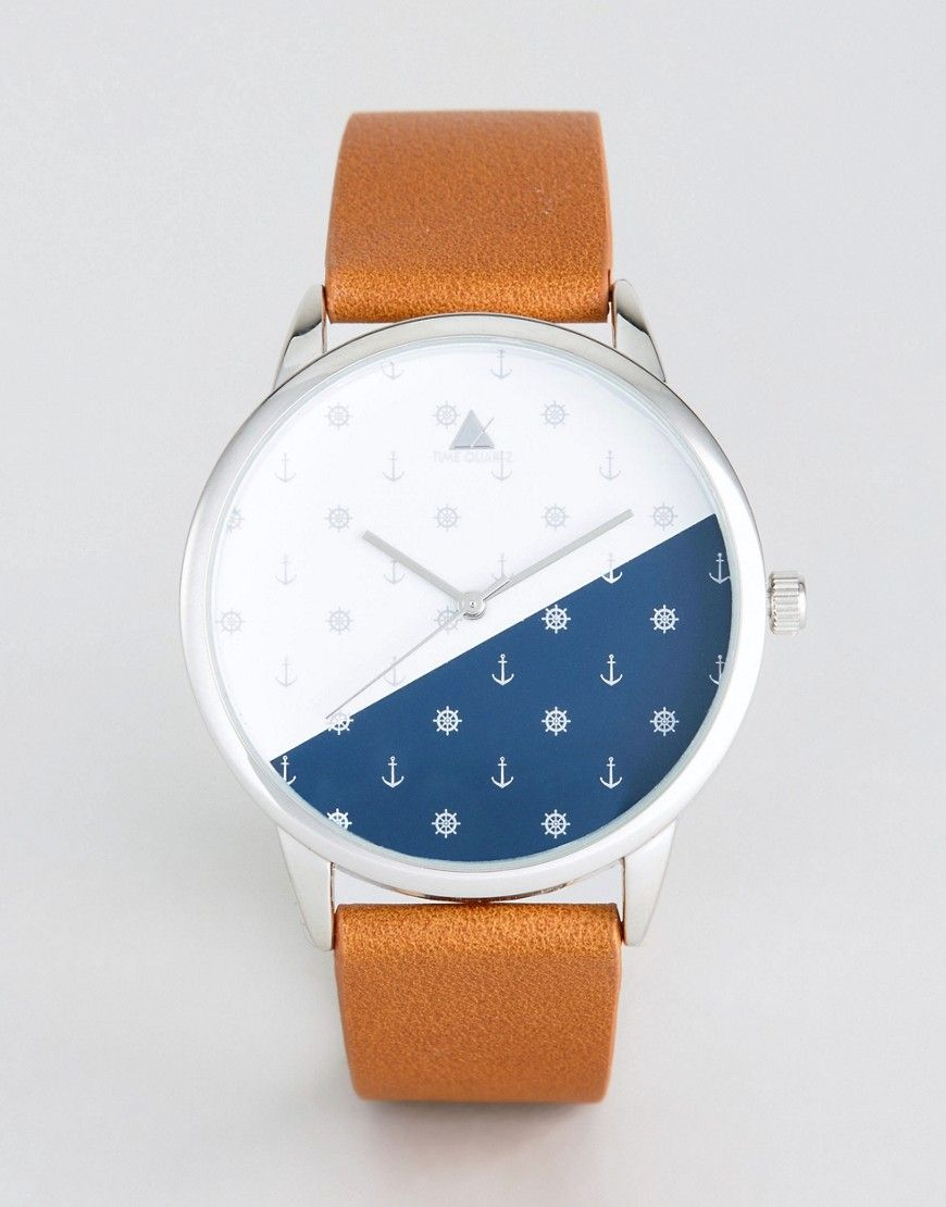 a84b7cb60f0e9d ASOS Watch With Tan Faux Leather Strap And Ditsy Anchor Print Design -