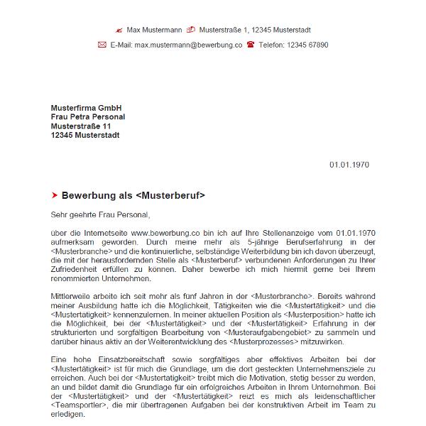 vorlage fr ein bewerbungsschreiben mit roten farbakzenten bewerbungsschreiben - Bewerbung Weiterbildung