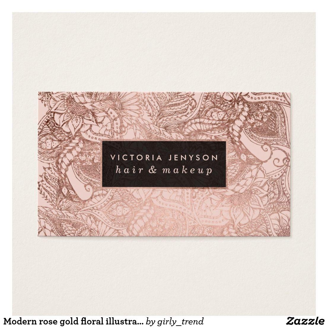 Modern rose gold floral illustration hair makeup business card ...