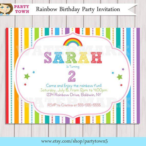 Rainbow Invitation Birthday Printable DIY Party