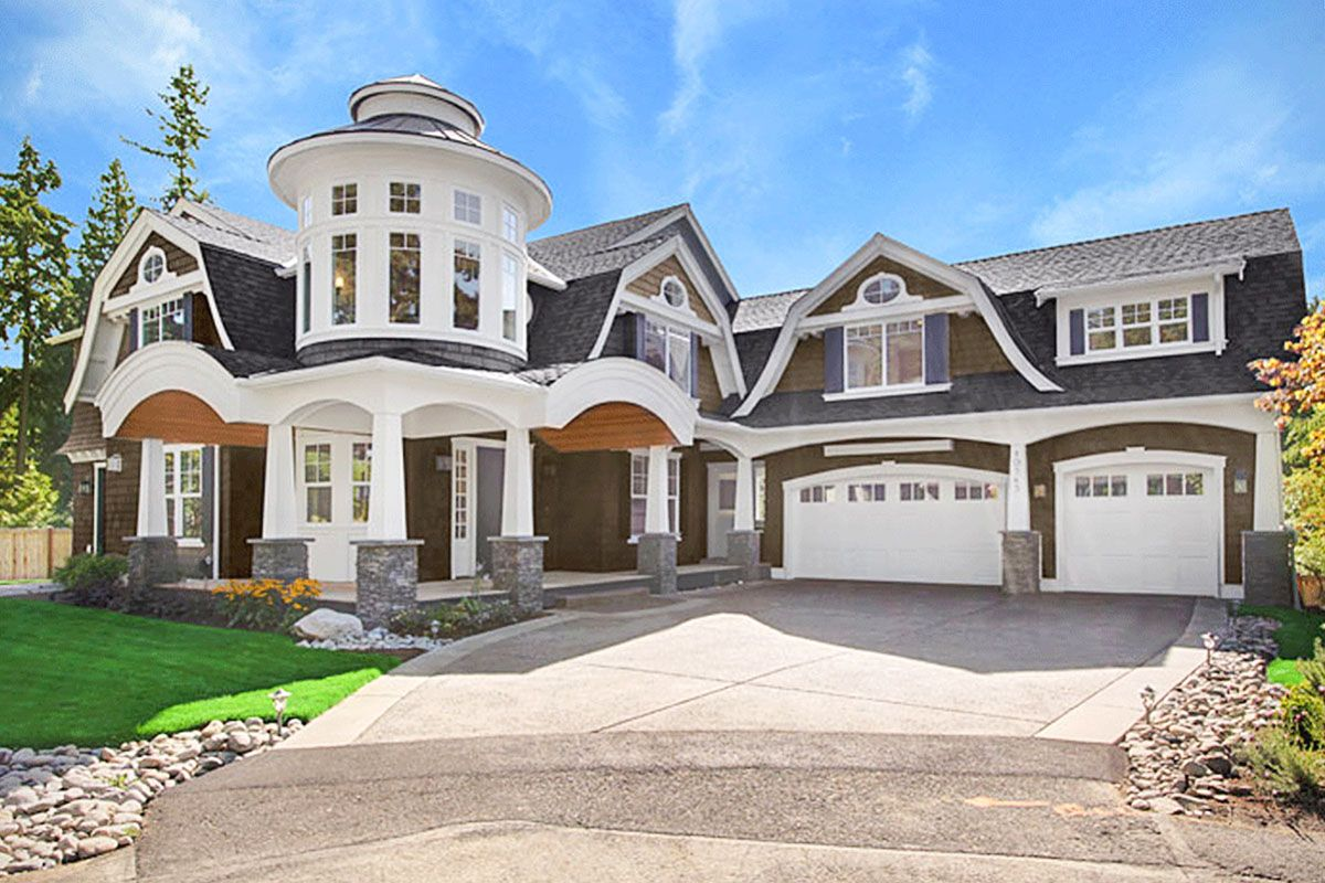 Plan 23395jd Grand Shingle Style House Plan With Turreted Loft Shingle Style Homes House Plans Nantucket Style Homes