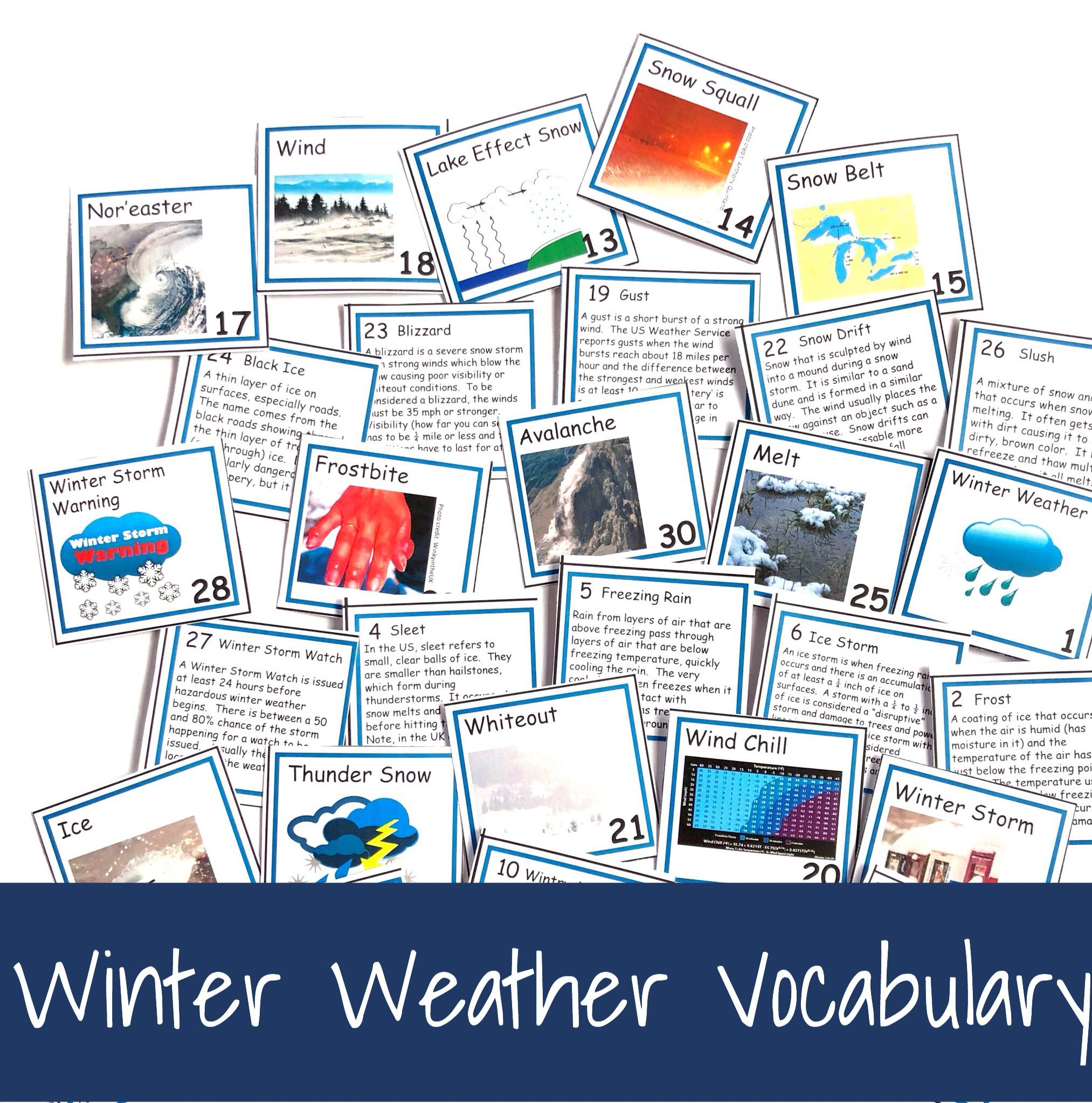 Weather Vocabulary Concept Of The Day Cards