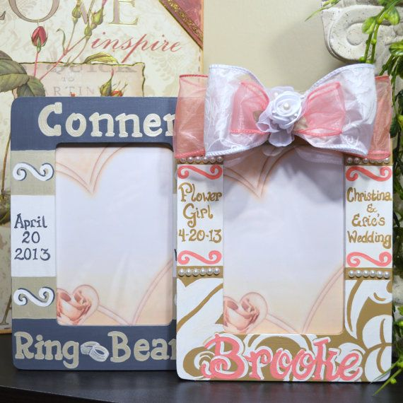 Personalized Hand Painted Flower Girl and Ring Bearer Frames on Etsy, $59.00
