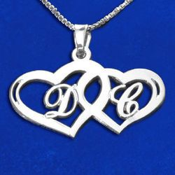 Silver Couples Hearts Pendant