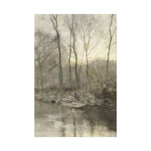 Forest edge water, anton mauve stretched canvas print