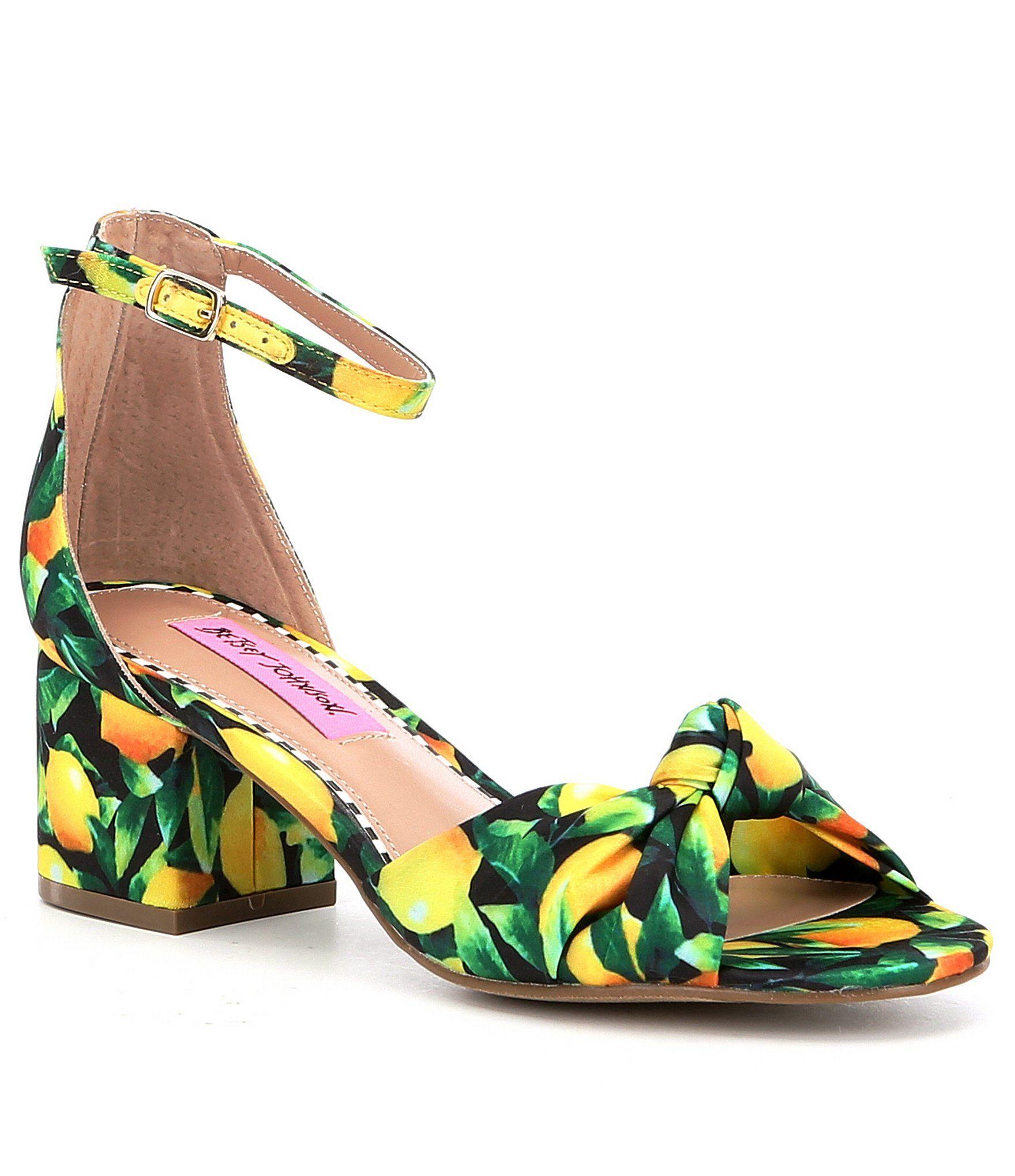 Betsey Johnson Ivee Lemon-Print Ankle Strap Block Heel Sandals   Dillards