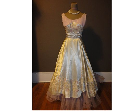 Lovely Creamy Silk 1950s 60s Party Wedding by TimelessThreadsCo, $430.00
