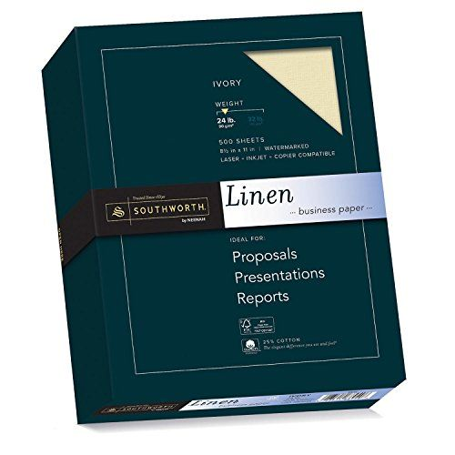 Southworth Fine Linen Paper, 25% Cotton, Size 24, Ivory, 500 Sheets (564C) - http://www.homeandofficeproducts.com/southworth-fine-linen-paper-25-cotton-size-24-ivory-500-sheets-564c/