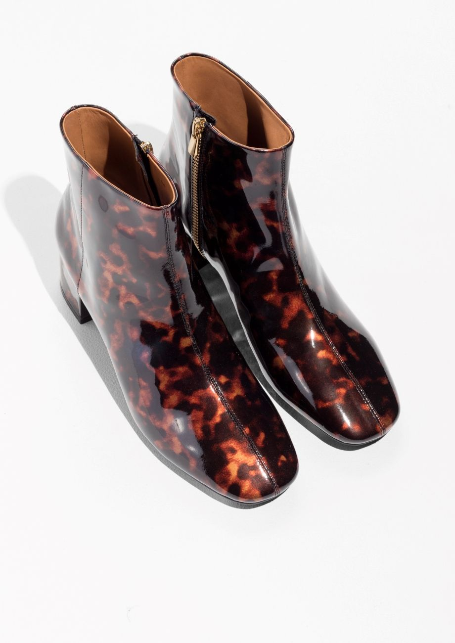 5d4216d84ba Other Stories image 2 of Patent Leather Ankle Boots in Tortoise ...