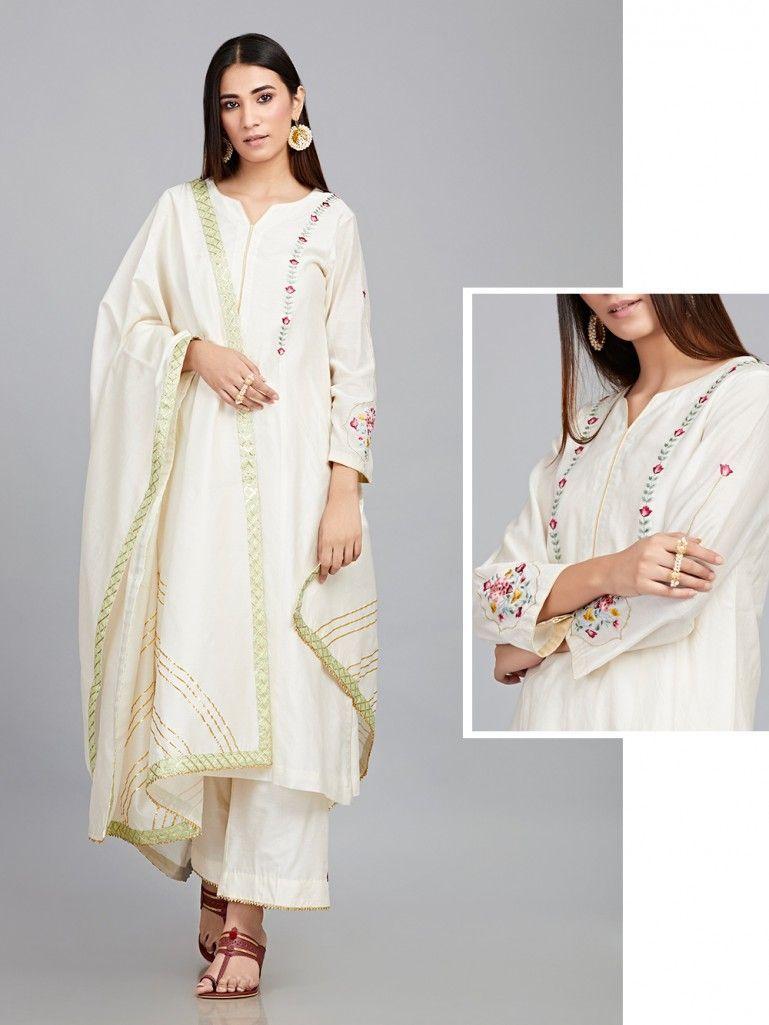92a2df940 Off White Embroidered Chanderi Silk Kurta with Cotton Silk Palazzo and  Chanderi Silk Dupatta - Set of 3