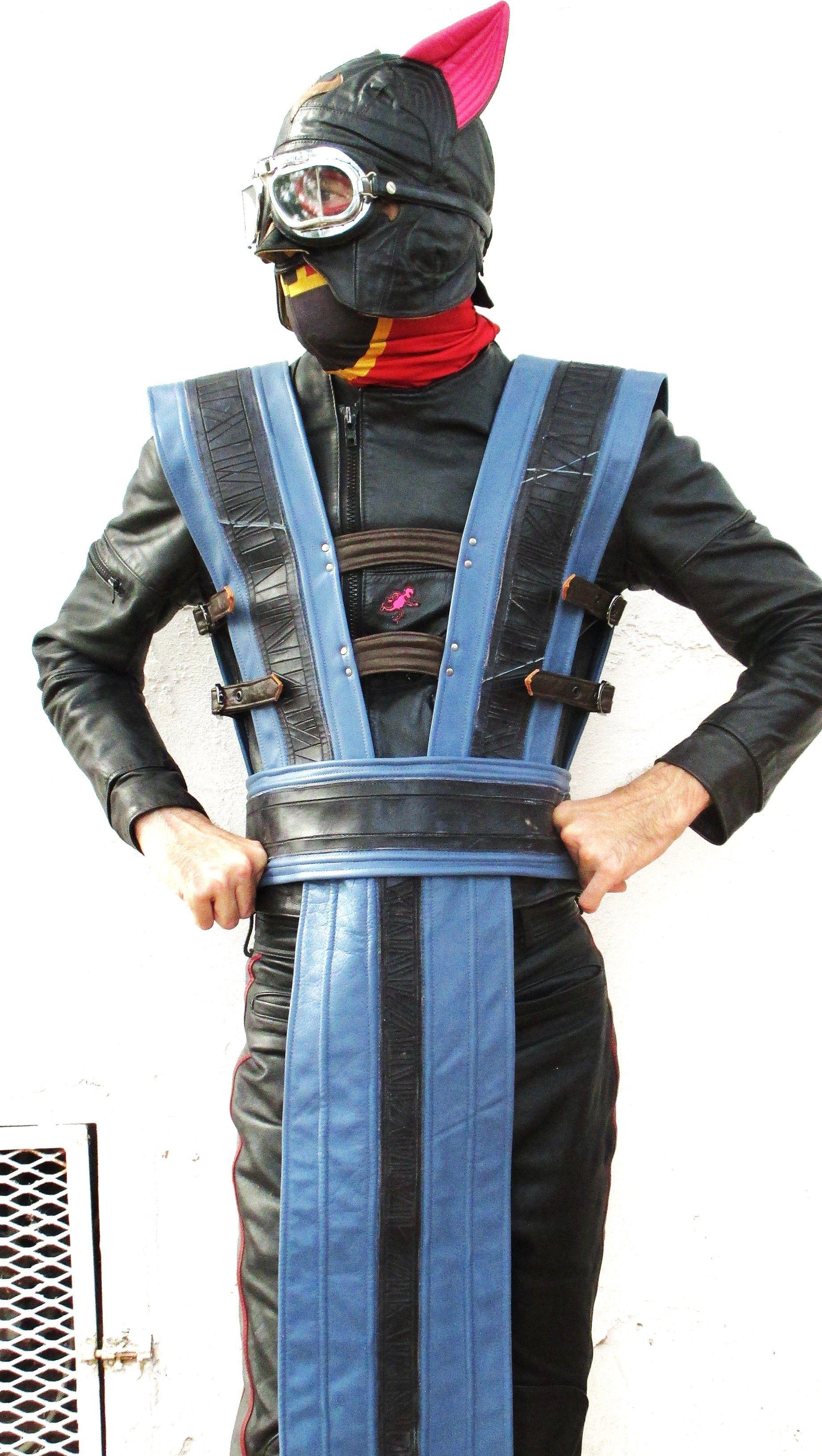 Kitty Ear Mask/ Goggles with Custom Leather Mortal Kombat Tabard