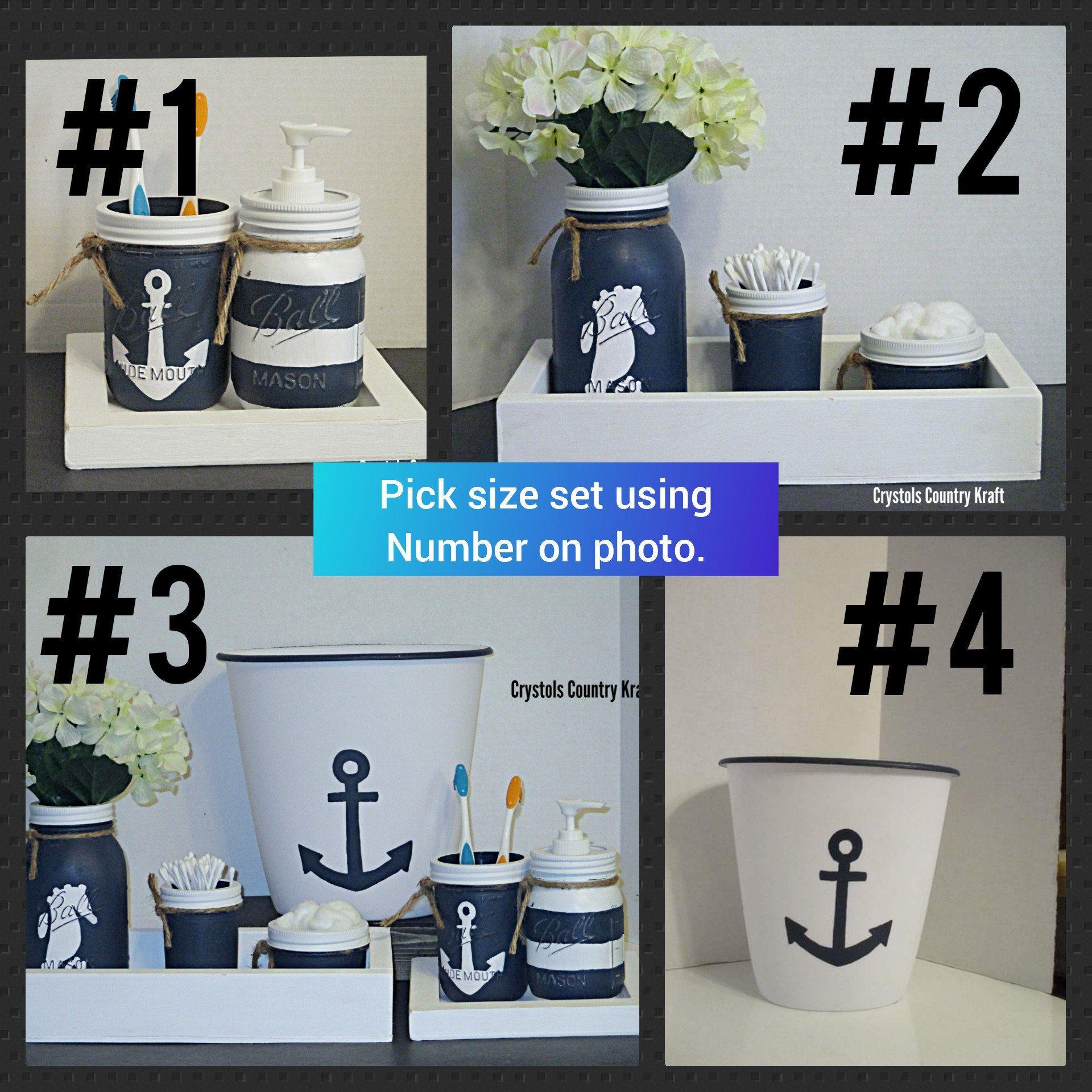 Navy Blue And White Beach Bathroom Set Nautical Bathroom Decor