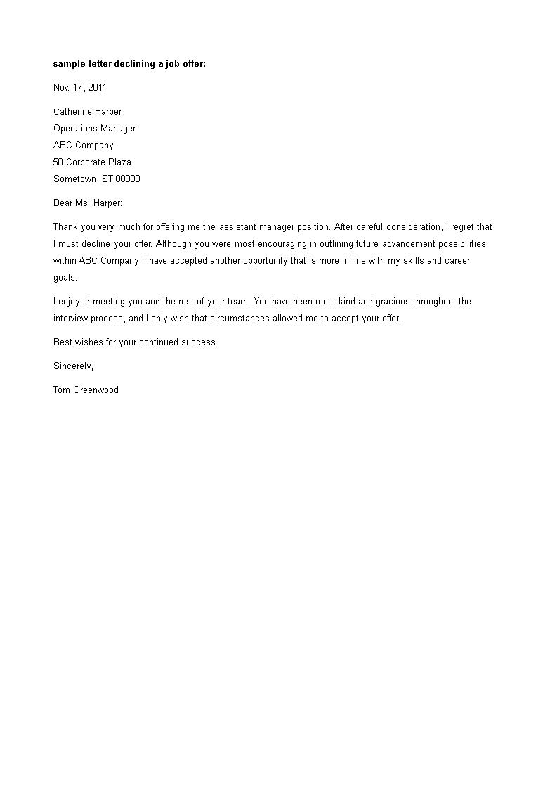 Job Offer Decline Letter How To Create A Job Offer Decline Letter Download This Job Offer Decline Letter Template Now Job Offer Job Interview Answers Job