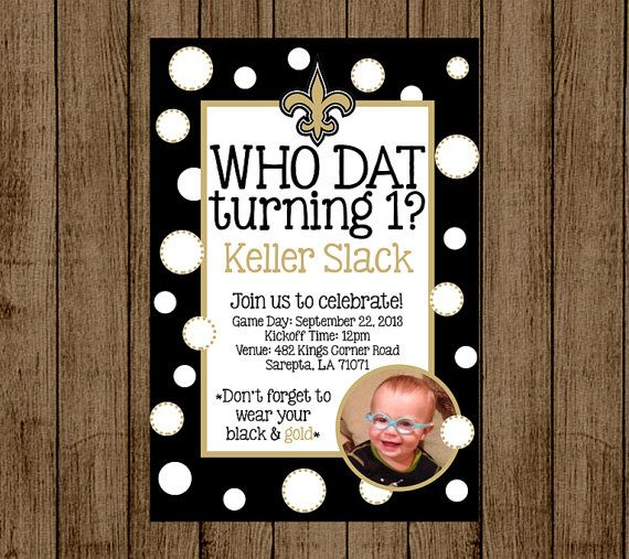 Custom Birthday Invitation For Kids New Orleans Saints Who Dat Party Photo Fleur De Lis Football Baby Shower Digital File