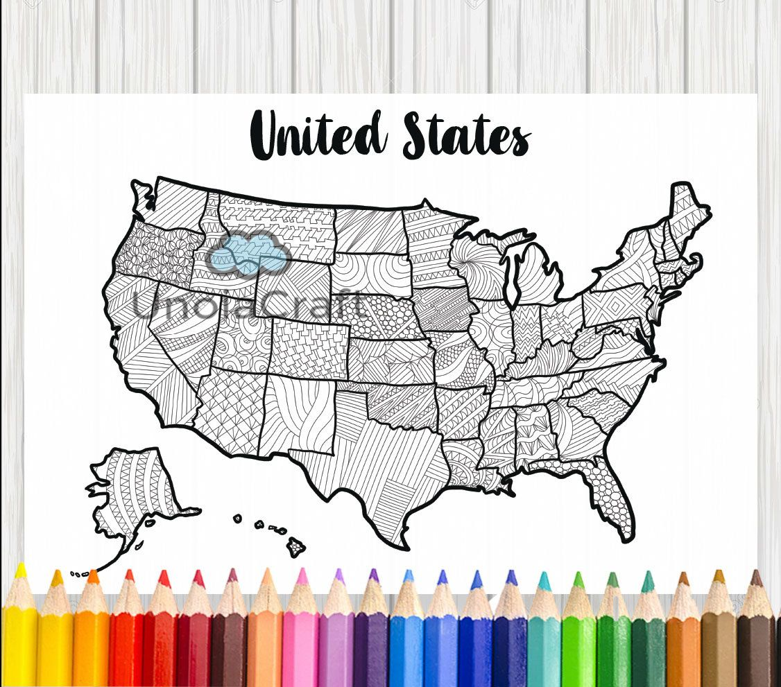 Usa Map Coloring Page Usa Map Wall Art Adult Coloring Sheets