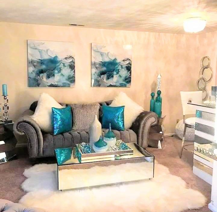 Next Living Room Ideas 2018: Sala Beige Con Turquesa. Preciosos Colores De Temporada