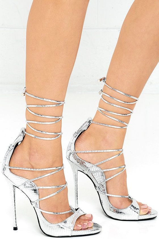 Party Anthem Silver Snakeskin Lace-Up Heels