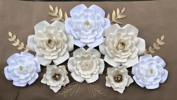 8 Ivory Cream White Gold Accents Paper Flowers Wall Decor Nursery