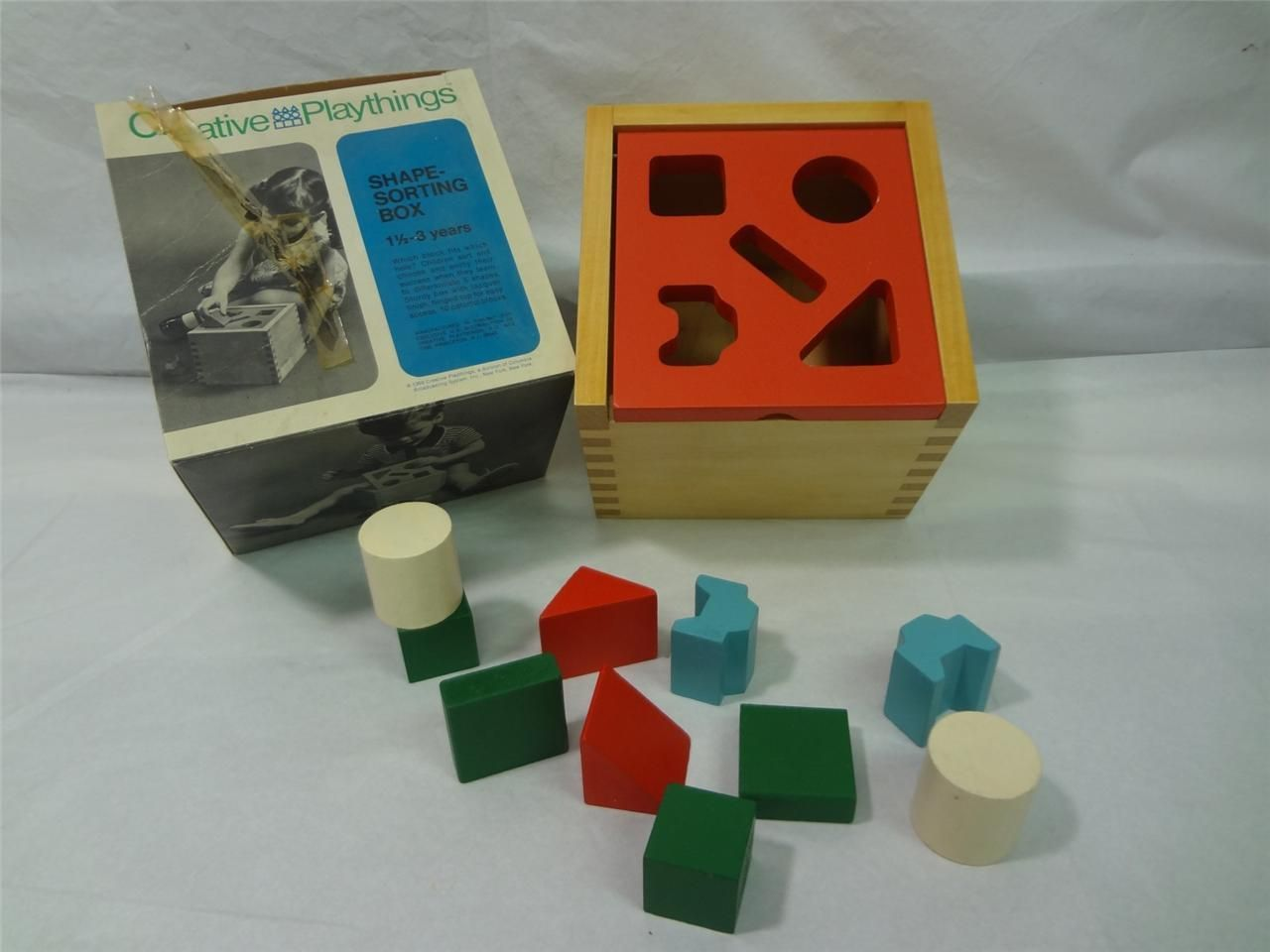 New NOS 1969 Creative Playthings Child Wooden Shape Sorting Box Q949 1 3 Years | eBay