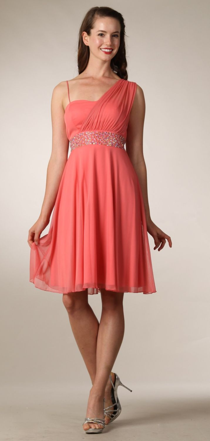 Coral graduation dress short knee length greek style casual dress