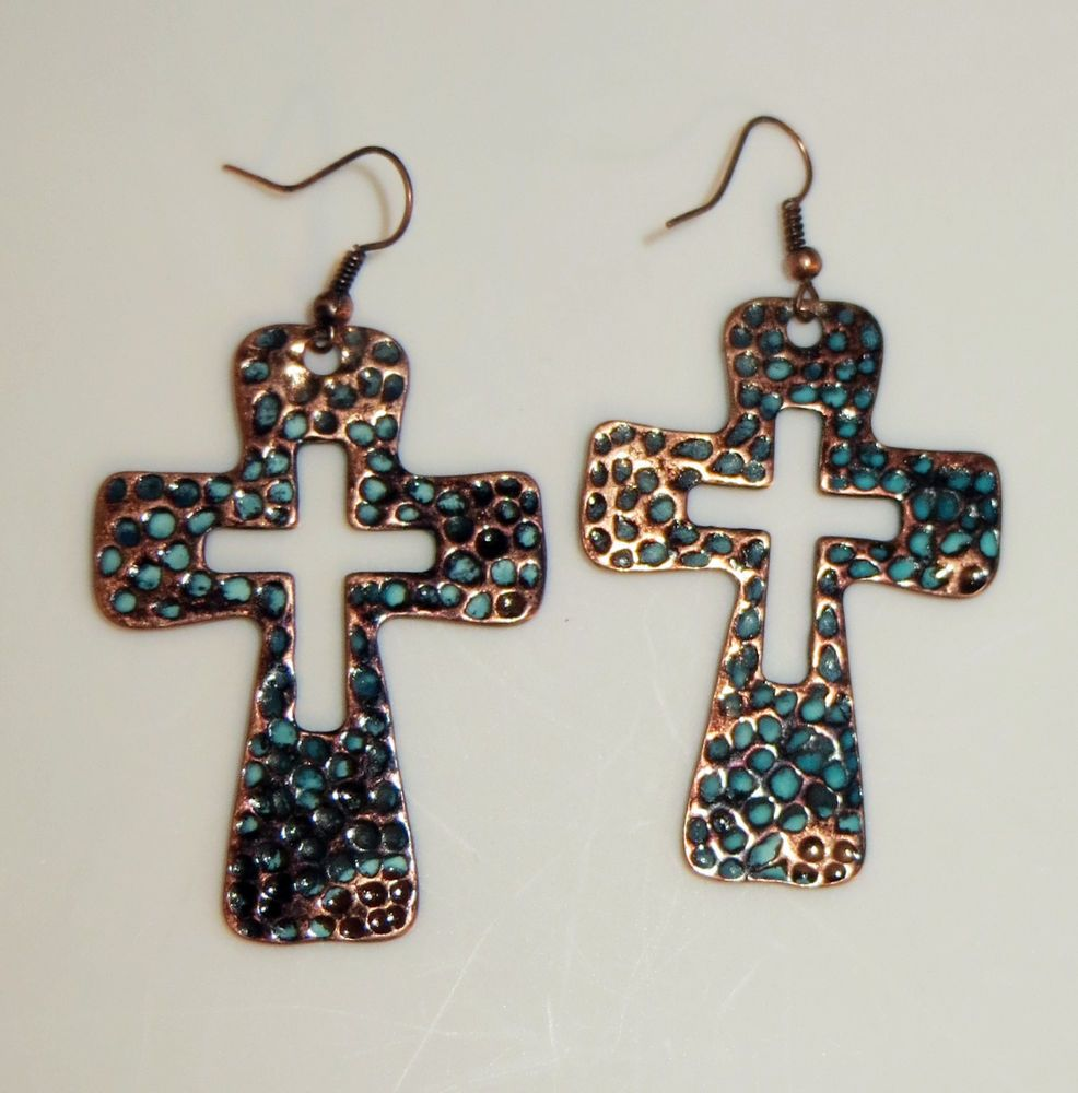 Cowgirl bling turquoise patina copper cross earrings for Wholesale cowgirl bling jewelry