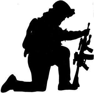 Kneeling Soldier Silhouette Vinyl Decal U Pick Size