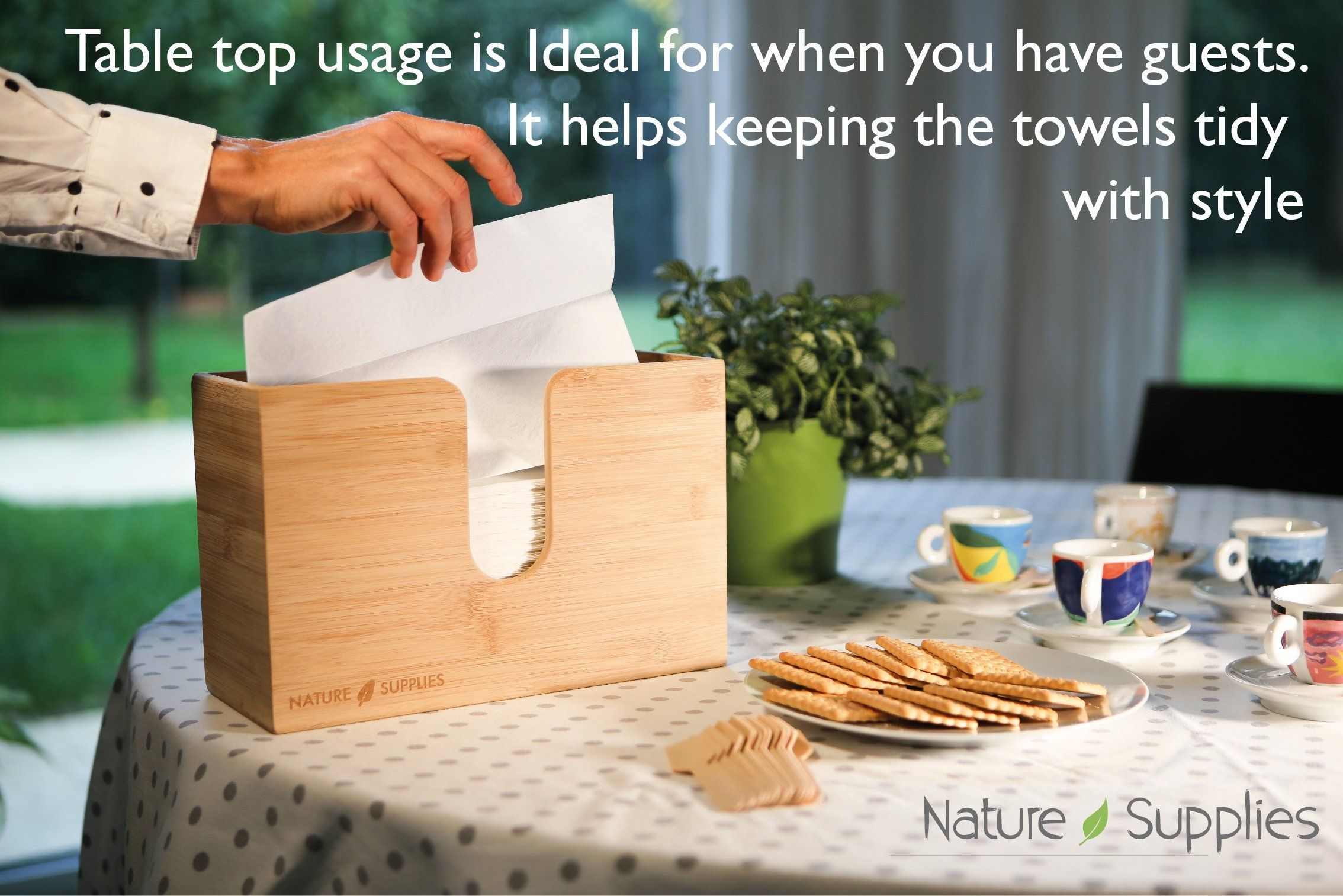 Nature Supplies Bamboo Paper Towel Dispenser For Bathroom And