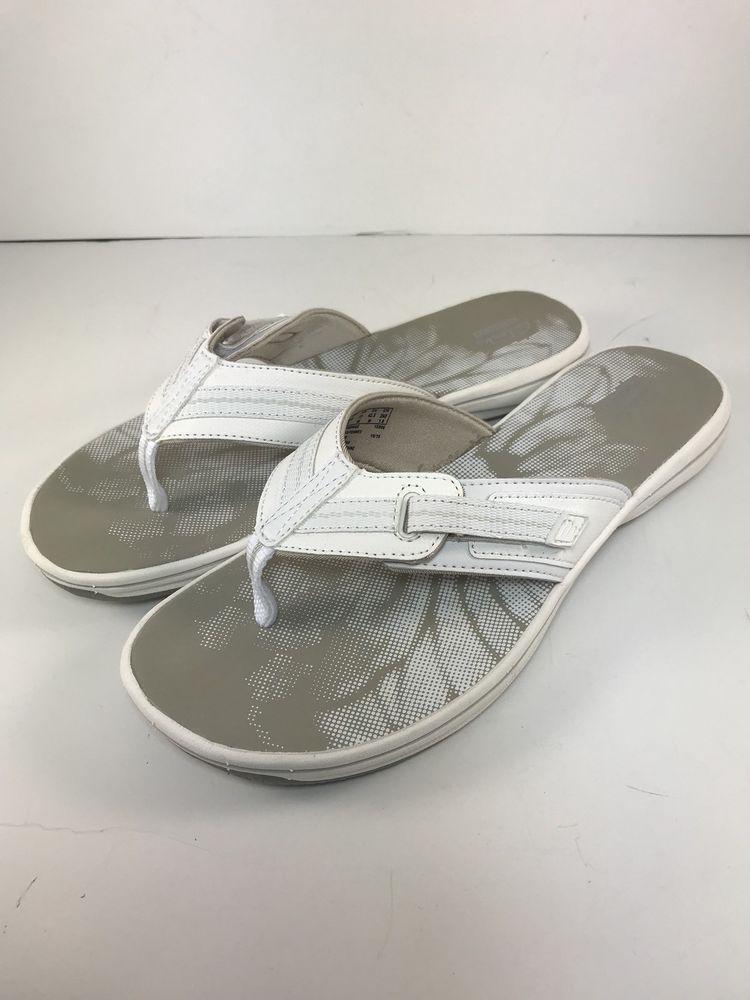 e66012e3519c7e Clarks Collection Sandals Flip Flops White Brinkley Jazz Womens 11  Adjustable