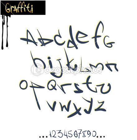 Alfabeto de fonte graffiti, letras abc — Ilustração de Stock #7796718