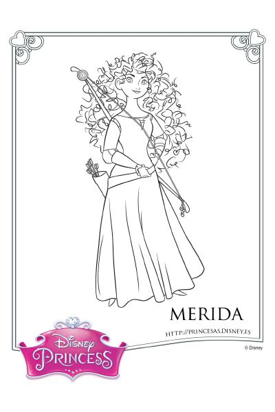 Colorea Con Merida Coloreartu En 2019 Valiente Merida Princesa