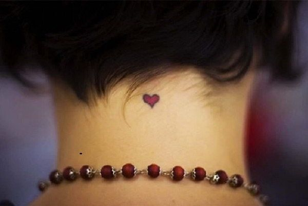 Tiny And Cute Heart Tattoo On Back Of The Neck Red Heart Tattoos Small Girl Tattoos Small Heart Tattoos
