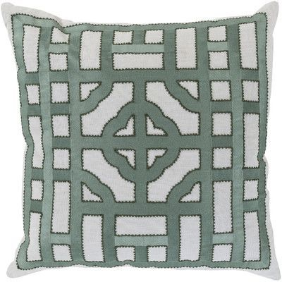 "Wade Logan Mcgee Looking Glass Throw Pillow Size: 22"" H x 22"" W x 4"" D, Color: Light Gray/Moss, Filler: Down"