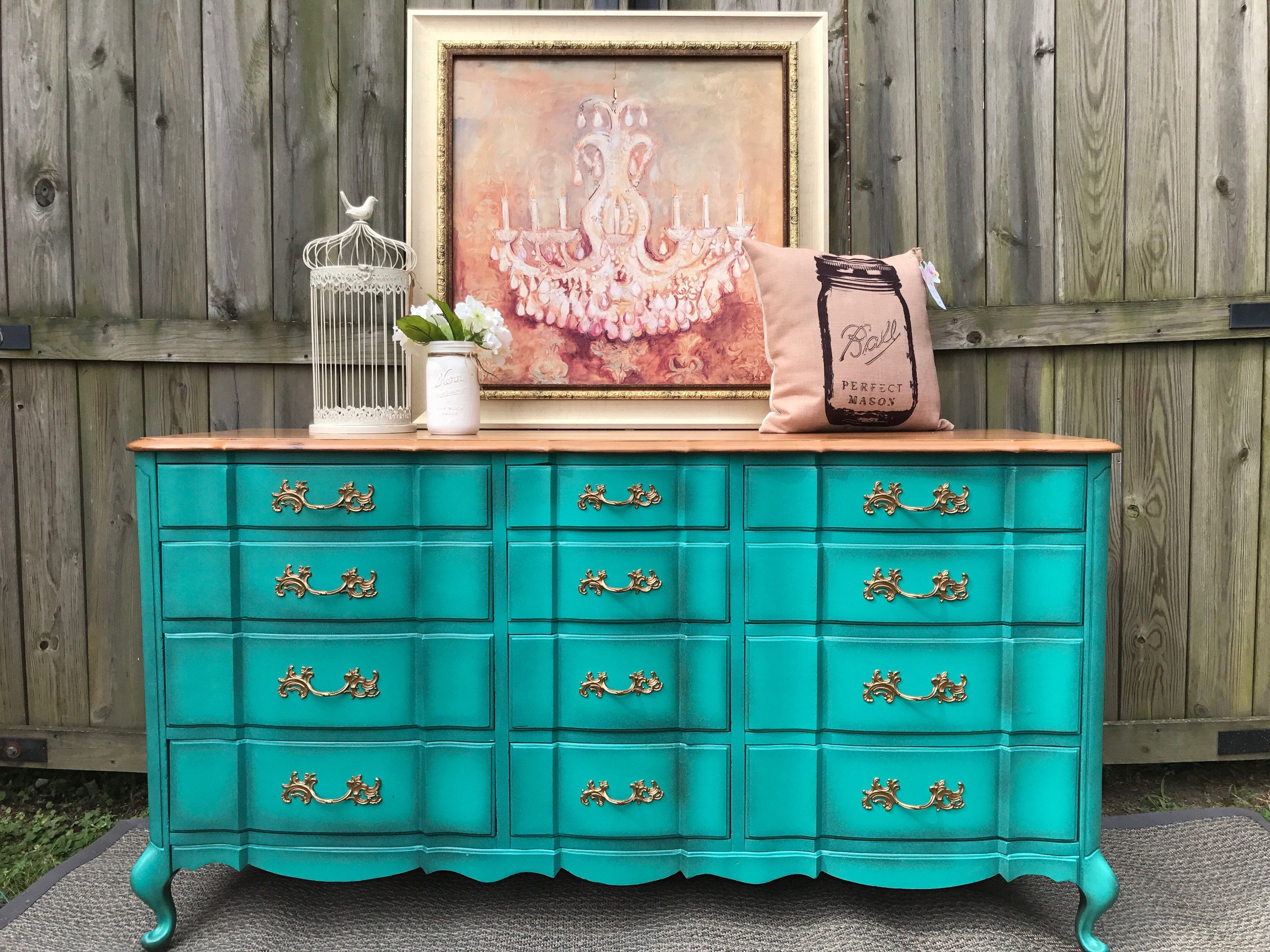 Turquoise French Provincial Dresser Buffet Console Changing Table ...