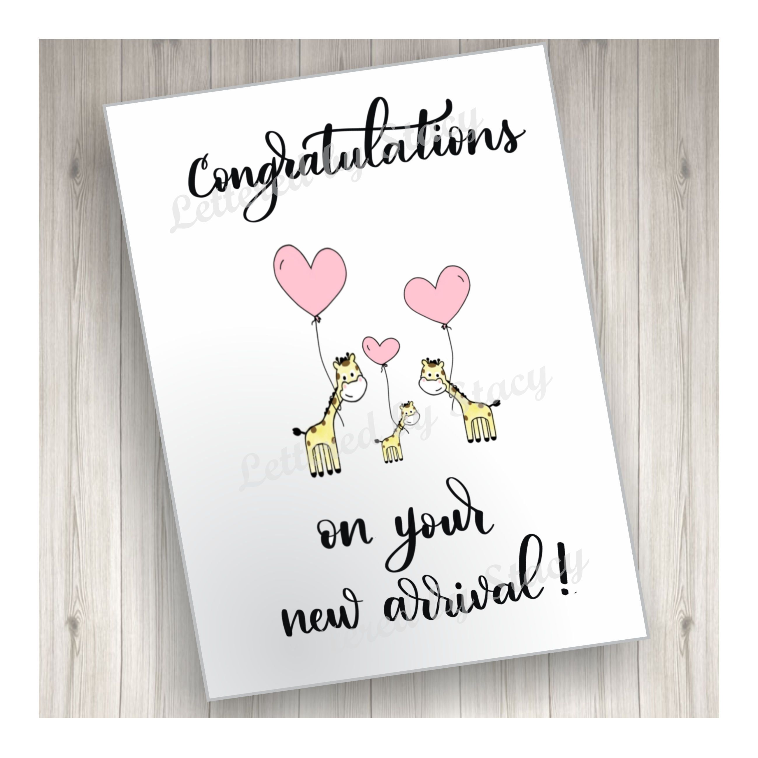 New Baby Card New Arrival Card Congratulations On Your New Arrival