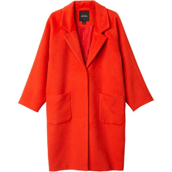 Monki Karen coat (€85) ❤ liked on Polyvore featuring outerwear, coats, jackets, red coat, oversized coat and monki