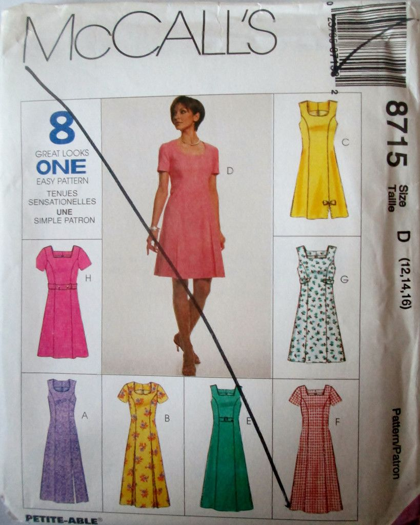 McCalls 8715 Women's 90s Sewing Pattern Semi-Fitted Dress 2 Lengths  Bust 34 to 38