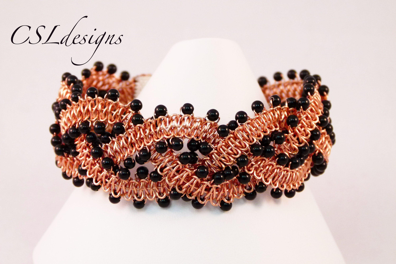 Beaded wirework braided macrame bracelet wire knitknotbraidcoil