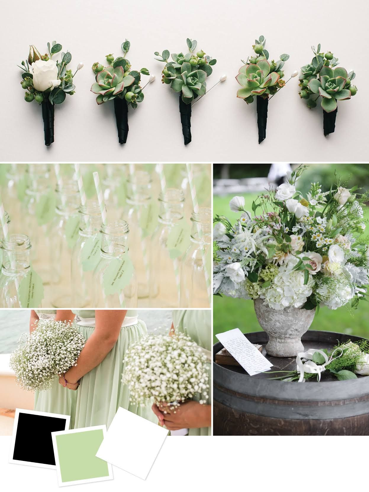 Black + Pale Green + White Good for: Formal spring wedding themes ...