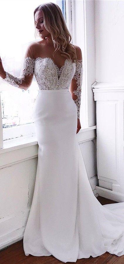 Robe de mariée sirène manches longues   – Amazing Wedding Dresses