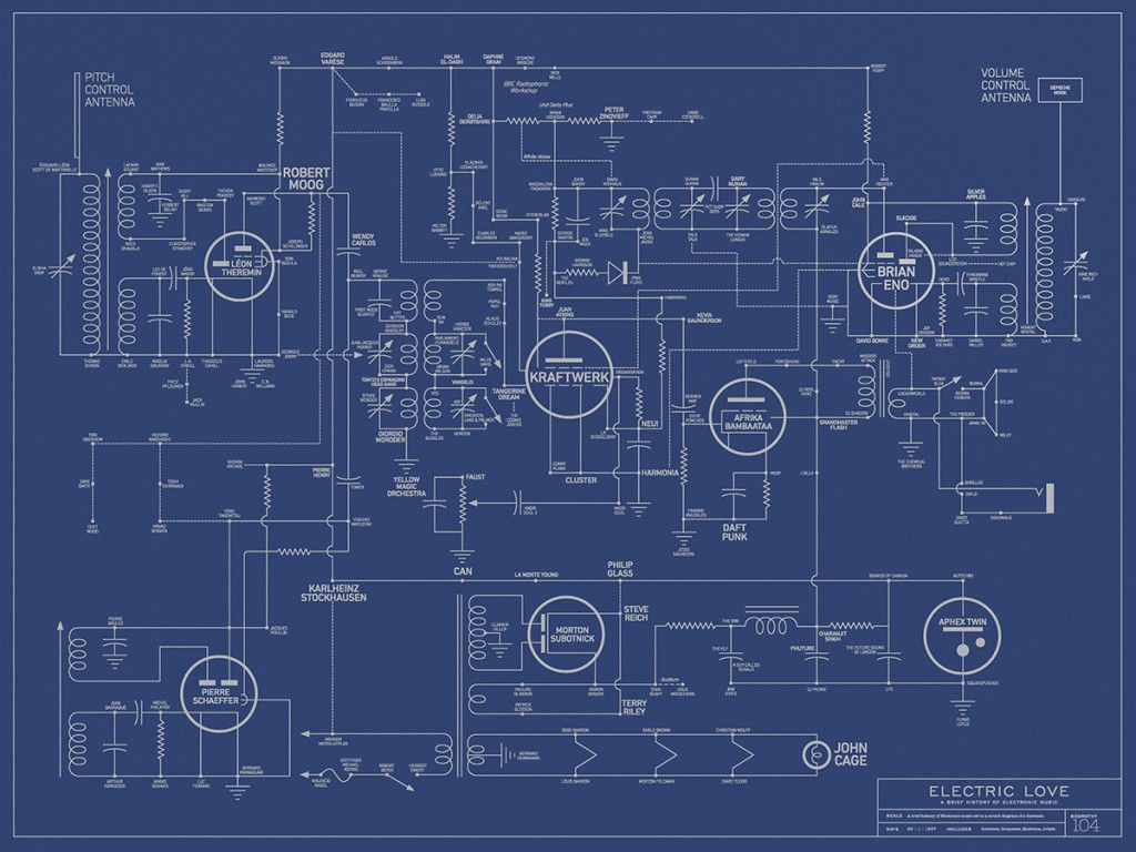 Intricate Blueprint Maps The History Of Electronic Music Lcd Sound Mapping Wiring House Electrical Circuits This Poster From London Studio Dorothy