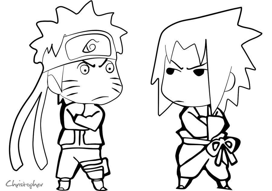 Naruto Vs Sasuke Line Art By Chrisdoebber On Deviantart Chibi Coloring Pages Cartoon Coloring Pages Coloring Pages